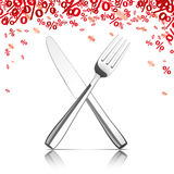Knife Fork Mirror Red Percents. Knife and fork with red percents on the white background Stock Photography