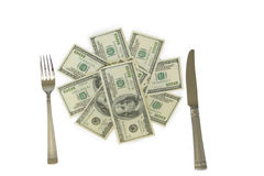 Knife fork money. Money with knife and fork Royalty Free Stock Images