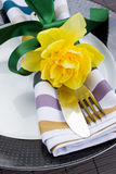 Cutlery serving with narcissus flower Stock Photo