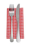 Knife, fork, napkin Stock Images