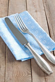 Knife and fork. With napkin Stock Photography