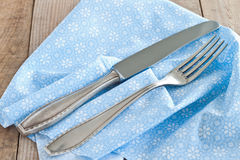 Knife and fork. With napkin Royalty Free Stock Photos