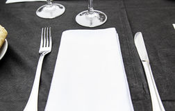 Knife fork and napkin Royalty Free Stock Photo