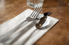 Knife fork napkin in a diner cafe restaurant usa Royalty Free Stock Photography