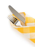 Knife and fork at napkin Royalty Free Stock Photos