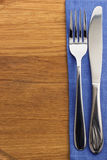 Knife and fork at napkin Royalty Free Stock Photography