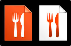 Knife and fork on Paper Set.  Stock Photos
