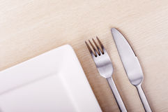 Knife, Fork and Plate Stock Images
