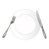 Knife,fork and plate Royalty Free Stock Photos