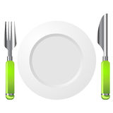 Knife fork and plate. Isolated over white background Royalty Free Stock Photography