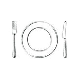 Knife, fork and plate, isolated on white Royalty Free Stock Photo