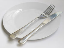 Knife and fork plate Royalty Free Stock Photo