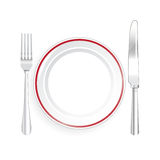 Knife and Fork with Plate on White Background Royalty Free Stock Photo