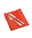 Knife and fork on red napkin isolated on white Stock Photo