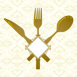 Knife, fork, spoon and banner Stock Photos