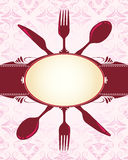 Knife, fork, spoon and banner Royalty Free Stock Photography