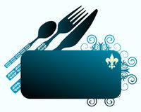 Knife, fork, spoon and banner Stock Photo