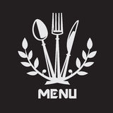 Knife, fork and spoon. Menu design with knife, fork and spoon on black background Stock Photo
