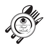 Knife, fork and spoon. Monochrome illustrations of knife, fork, spoon and plate vector illustration