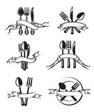 Knife, fork and spoon. Monochrome illustrations set of knife, fork and spoon vector illustration