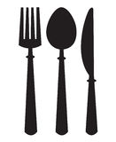 Knife, fork and spoon. Monochrome illustrations set of knife, fork and spoon royalty free illustration