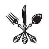 Knife, fork and spoon. Monochrome set of knife, fork and spoon royalty free illustration