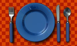 Knife, fork, spoon and plate Stock Photos