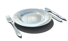 Knife, fork, spoon and plate Royalty Free Stock Photos