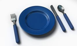 Knife, fork, spoon and plate Royalty Free Stock Image