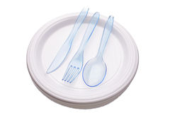 Knife, fork and spoon on plate Stock Images