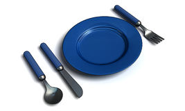 Knife, fork, spoon and plate royalty free illustration
