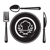 Knife, fork, spoon and plate. Monochrome illustrations set of knife, fork, spoon and plate Royalty Free Stock Photo