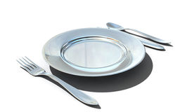 Knife, fork, spoon and plate Stock Image