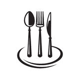 Knife, fork, spoon and plate. Monochrome set of knife, fork, spoon and plate Royalty Free Stock Photo