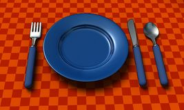 Knife, fork, spoon and plate with table coth Stock Image