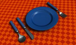 Knife, fork, spoon and plate with table coth Royalty Free Stock Image