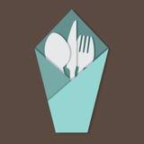 Knife Fork Spoon Set. Knife Fork Spoon Set In Table Napkin Vector Illustration Stock Photo