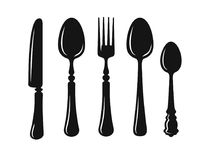 Knife, fork and spoon vector. Knife, fork and spoon for menu design. Vector silhouette Royalty Free Stock Images