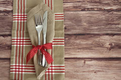 Knife and Fork table setting Stock Photo