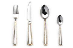 Knife,fork and two spoons. Silverware Set with Fork, Knife, and two Spoon Stock Photo