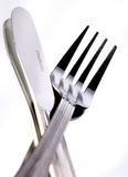 Knife and fork on white Stock Photo