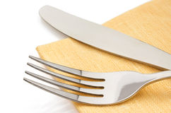 Knife and fork on white Stock Photography