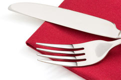 Knife and fork on white Royalty Free Stock Image