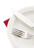 Knife and fork on white Royalty Free Stock Images