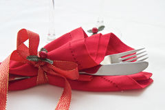 Knife and fork wrapped for Christmas Royalty Free Stock Image