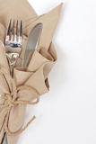 Knife and fork wrapped with string Royalty Free Stock Photography