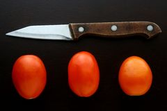 Knife and fresh ripe tomatoes Stock Photos