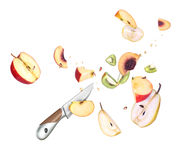 A knife and fruit cut Royalty Free Stock Images