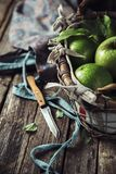 Knife for Fruit. Still life in a rustic style. Knife for fruit on wooden background royalty free stock images