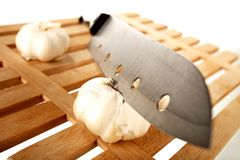 Knife and garlic 2 Stock Image